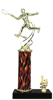1st - 5th Place Flame Column Male Tennis Trophy in 3 Sizes