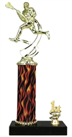 1st - 5th Place Flame Column Male Lacrosse Trophy in 3 Sizes