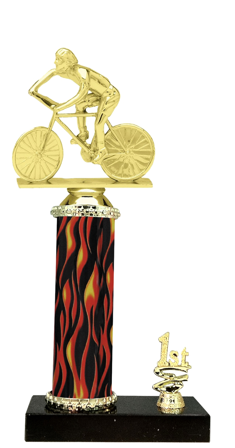 1st - 5th Place Flame Riser Male Cycling Trophy in 5 Color Options