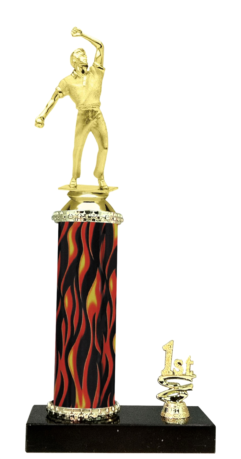 1st - 5th Place Flame Riser Cricket Bowler Trophy in 5 Color Options