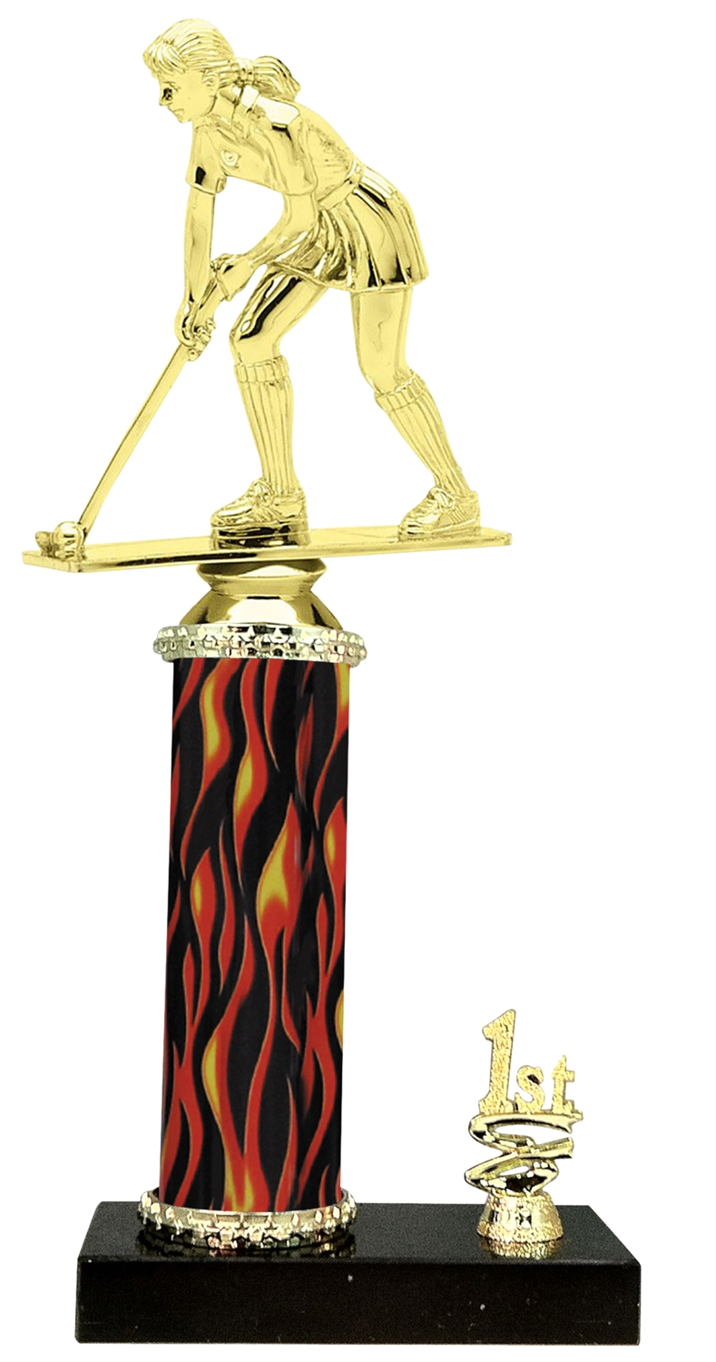 1st - 5th Place Flame Riser Female Field Hockey Trophy in 5 Color Options