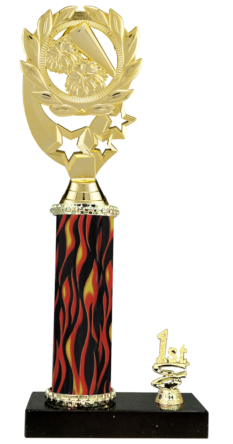 1st - 5th Place Flame Riser Cheerleading Trophy in 5 Color Options