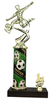 1st - 5th Place Sport Column Riser Male Soccer Trophy in 3 Sizes
