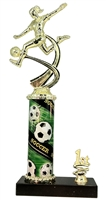 1st - 5th Place Sport Column Riser Female Soccer Trophy in 3 Sizes