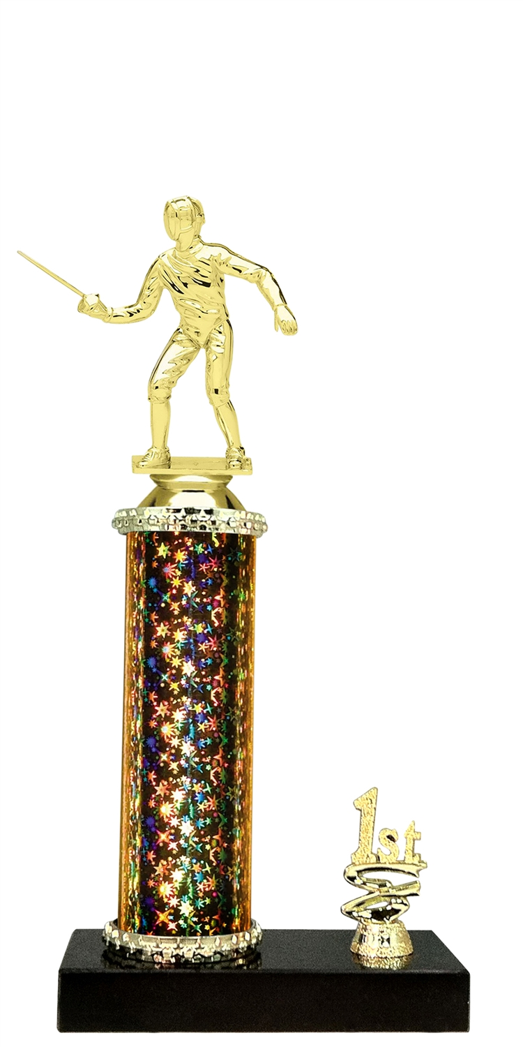 Fencing Trophy 1st 2nd 3rd Place on marble base in (3 - Sizes)