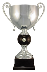Silver Plated Italian Trophy Cup Wood Accent
