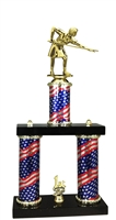 2 Column Flag PLUS Female Billiards Trophy