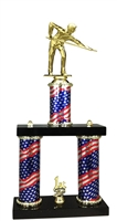 2 Column Flag PLUS Male Billiards Trophy