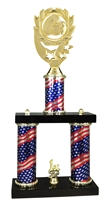 2 Column Flag PLUS Football Trophy