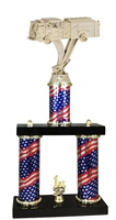2 Column Flag PLUS Firetruck Fireman Trophy