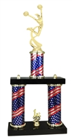 2 Column Flag PLUS Female Cheerleading Trophy