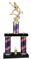 2 Column Flag PLUS Female Lacrosse Trophy