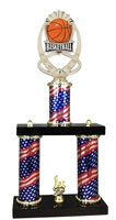 2 Column Flag PLUS Basketball Trophy