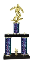 2 Column Starburst PLUS Snow Boarding Trophy in 5 Colors