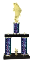 2 Column Starburst PLUS Bass Fishing Trophy in 5 Colors