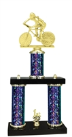 2 Column Starburst PLUS Female Cycling Trophy in 5 Colors