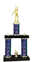 2 Column Starburst PLUS Cricket Bowler Trophy in 5 Colors