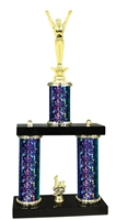 2 Column Starburst PLUS Male Gymnastics Trophy in 5 Colors