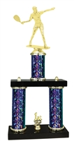 2 Column Starburst PLUS Female Raquetball Trophy in 5 Colors