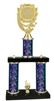 2 Column Starburst PLUS Blank Insert Trophy in 5 Colors
