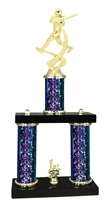 2 Column Starburst PLUS Female Softball Trophy in 5 Colors