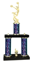 2 Column Starburst PLUS Female Cheerleading Trophy in 5 Colors