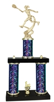 2 Column Starburst PLUS Female Tennis Trophy in 5 Colors