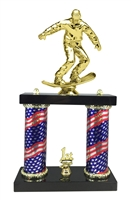 2 Column Flag Column Snow Boarding Trophy