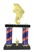 2 Column Flag Column Bass Fishing Trophy