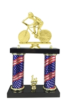 2 Column Flag Column Male Cycling Trophy