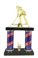 2 Column Flag Column Female Field Hockey Trophy