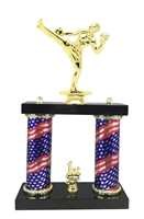 2 Column Flag Column Male Kick Boxing Trophy