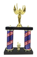 2 Column Flag Column Female Victory Trophy