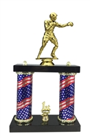 2 Column Flag Column Boxing Trophy