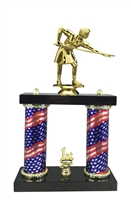 2 Column Flag Column Female Billiards Trophy