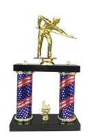 2 Column Flag Column Male Billiards Trophy
