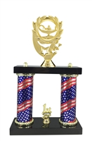 2 Column Flag Column Lamp of Knowledge Trophy