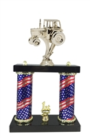 2 Column Flag Column Covered Tractor Trophy