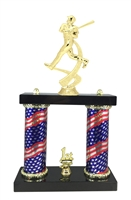 2 Column Flag Column Baseball Trophy