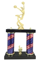 2 Column Flag Column Female Cheerleading Trophy