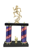 2 Column Flag Column Female Track Trophy