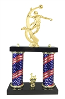 2 Column Flag Column Male Volleyball Trophy
