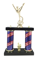 2 Column Flag Column Dance Squad Trophy