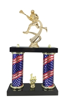 2 Column Flag Column Male Lacrosse Trophy
