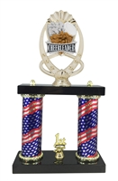 2 Column Flag Column Cheerleader Trophy