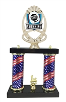 2 Column Flag Column Swimming Trophy