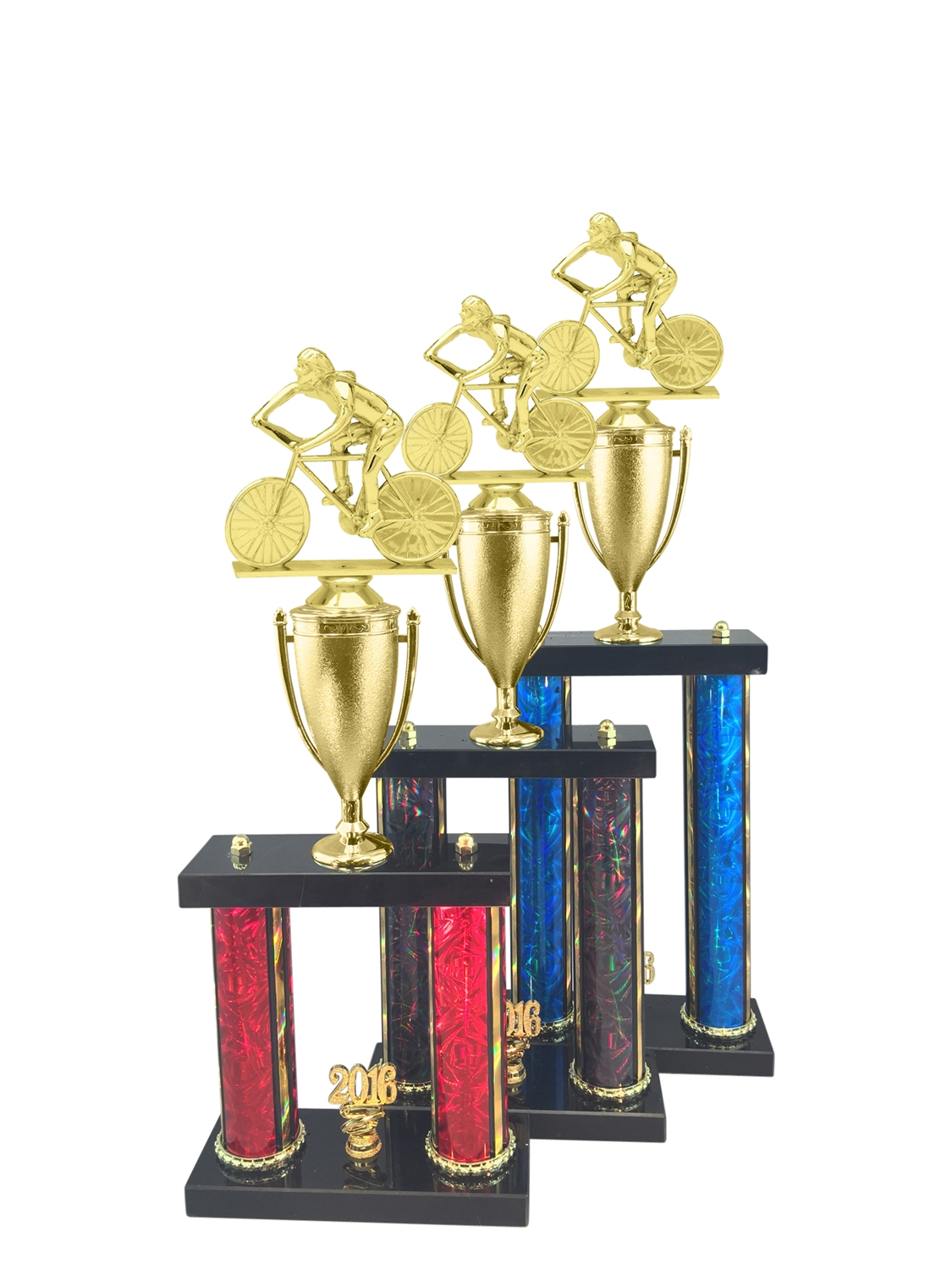 2 Post Female Cycling Trophy in 3 Sizes - in 11 Color & 3 Size Options