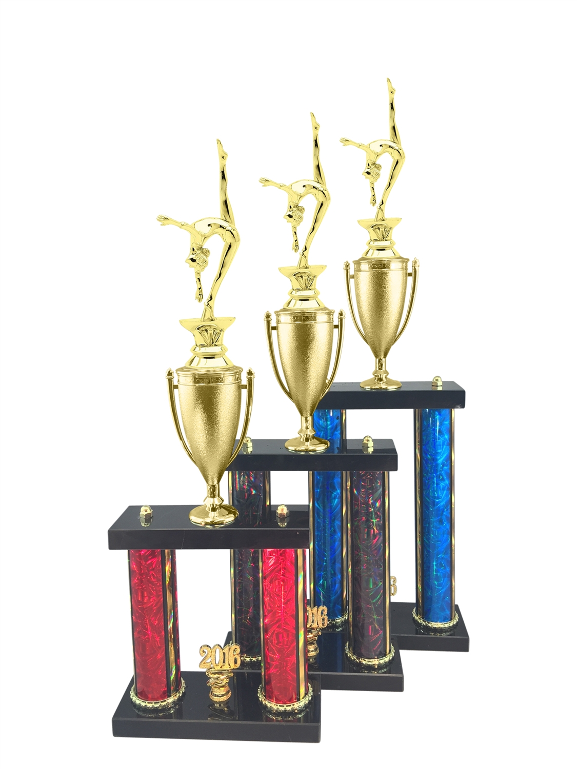 2 Post Female Gymnastics Trophy in 11 Color & 3 Size Options