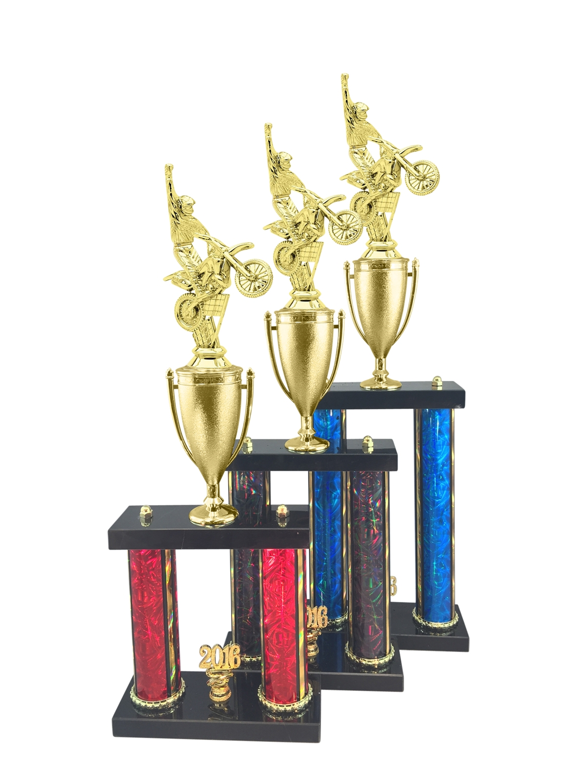 2 Post Motocross Trophy in 3 Sizes - in 11 Color & 3 Size Options