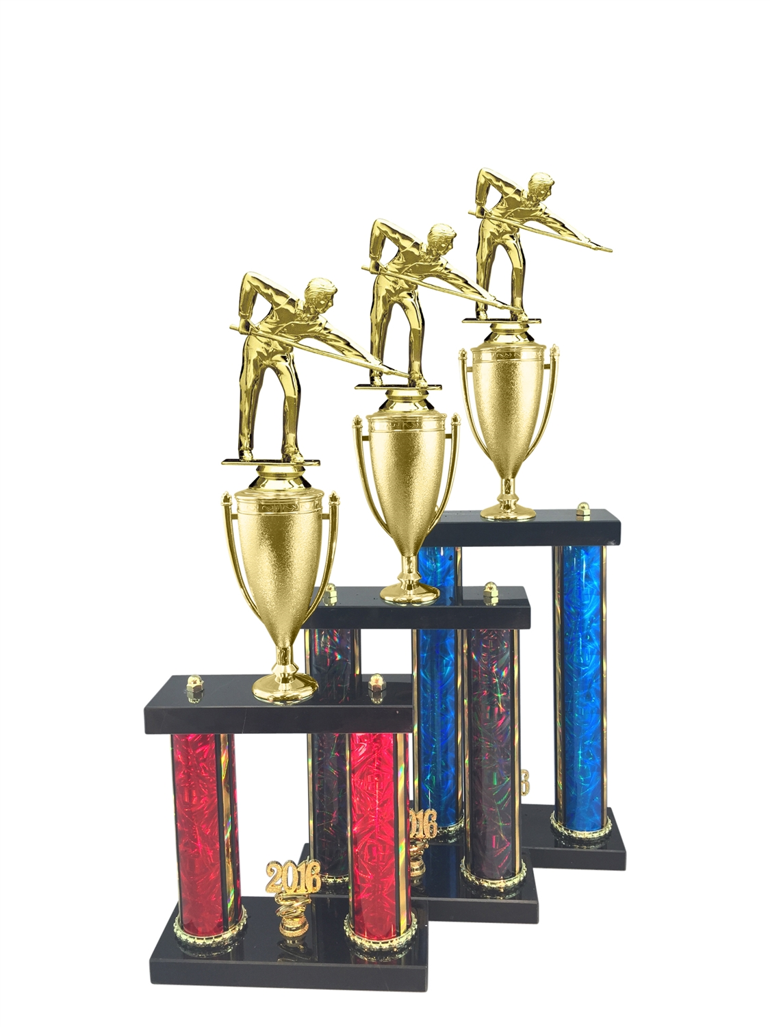2 Post Male Billiards - Pool Trophy in 11 Color & 3 Size Options
